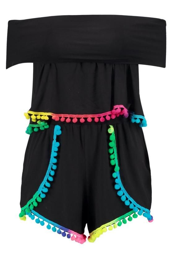 Ada Multi Colour Pom Pom Crop & Shorts Co-Ord Set | Boohoo