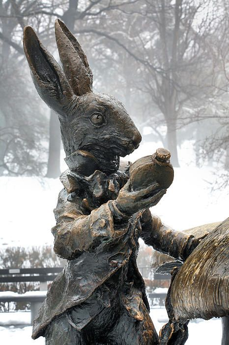 The white rabbit. Well technically, he is a bronze rabbit created by sculptor Jose de Creeft that represents the white rabbit from Alice in Wonderland in this Central Park statute. New York City  NYC. JC Findley