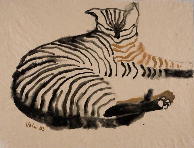 "Viola Gråsten (Swedish, 1910-1994) - ""Cat 12"", 1983 - Watercolour on paper"