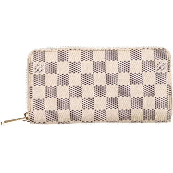 Pre-owned Louis Vuitton Damier Azur Zippy Wallet (4.900 NOK) ❤ liked on Polyvore featuring bags, wallets, white, zipper bag, zip around bag, zip around wallet, louis vuitton and pre owned bags