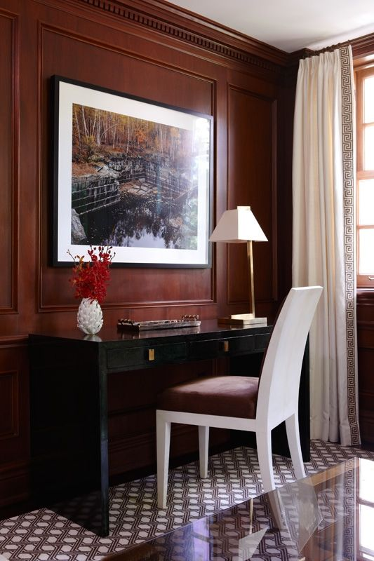 DARK PANNELLED HOME OFFICE - Anne Hepfer Interiors