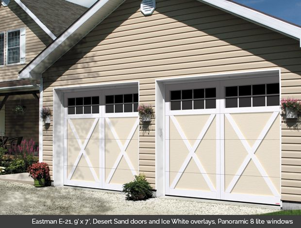 Garaga Garage Door - Eastman E-21, 9' x 7', Desert Sand doors and Ice White overlays, Panoramic 8 lite  windows