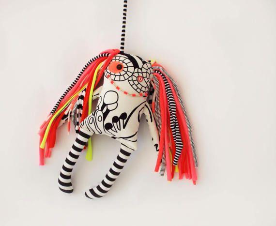 Monster Doll Crazy Rag Doll Handmade doll Home Decor Black