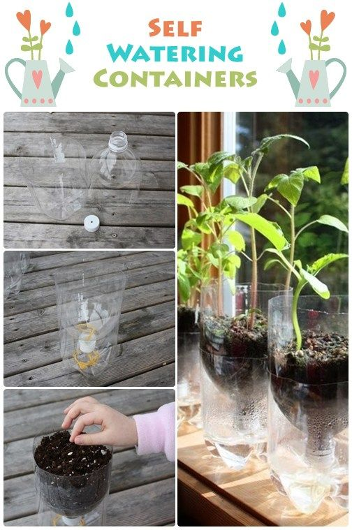 Make your indoor garden a little easier to care for with these self-watering containers, courtesy of Dreaming Garden 101. Using only 2-liter bottles, these containers are perfect for a windowsill because of the small space they require.