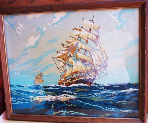 Large Vintage Paint by Number Ocean Sea Sailing by MostlyMadelines, $28.00