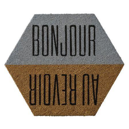 Bloomingville - Türmatte 60 x 70 cm - 'Bonjour/Au Reviour'