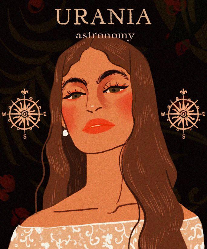 "Greek Mythology | The Muses ""Calliope - Epic Poetry, Urania - Astronomy, Polyhymnia - Hymns, Thalia - Comedy, Clio - History, Erato - Love Poetry, Euterpe - Lyric Poetry, Melpomene - Tragedy,..."