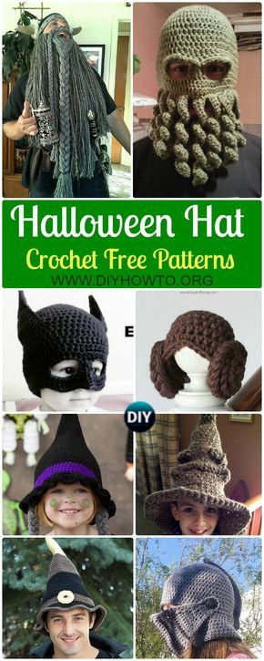10 Crochet Halloween Hat Free Patterns via @diyhowto