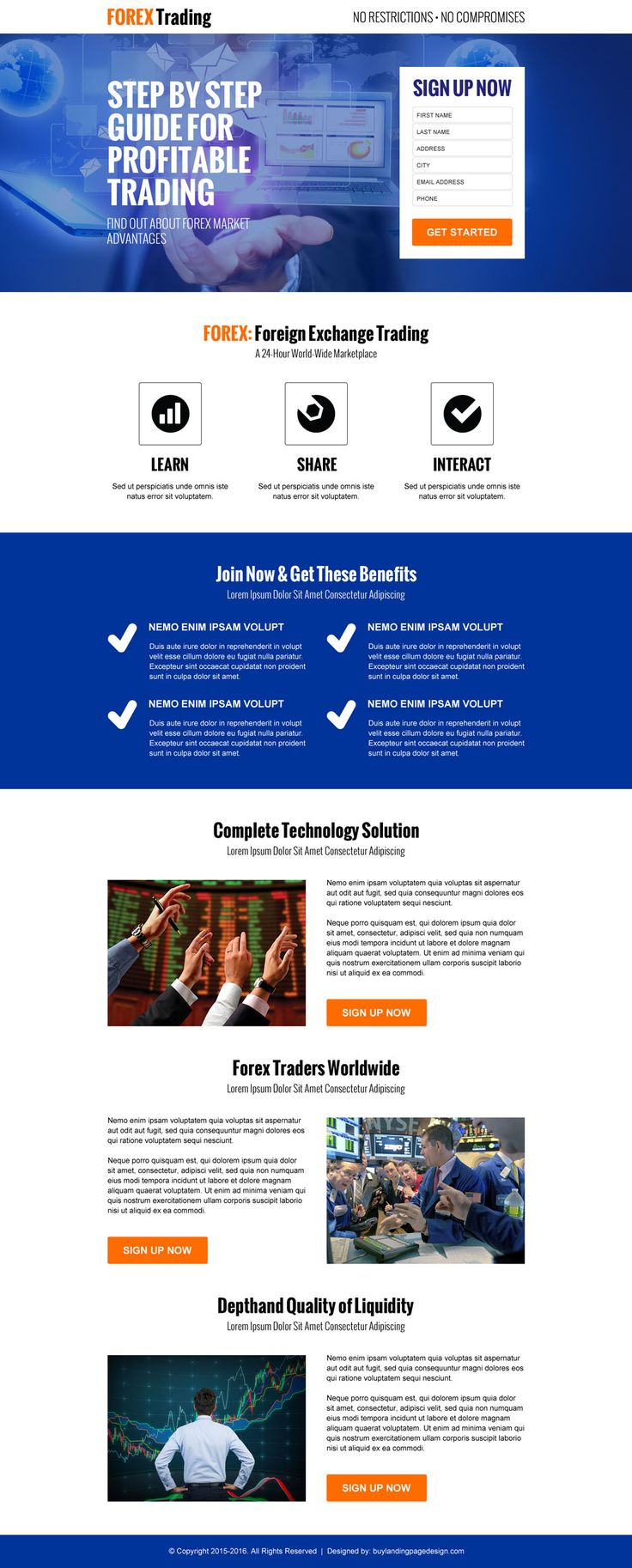 Forex landing page template