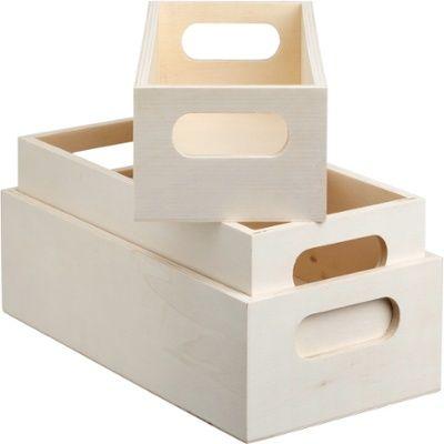 Förvaringslådor trä 3-pack