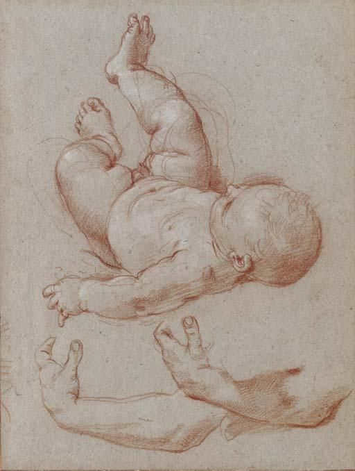 The infant Romulus and two studies of a man's left arm, Drawing by Carlo Maratta (1625-1713, Italy)
