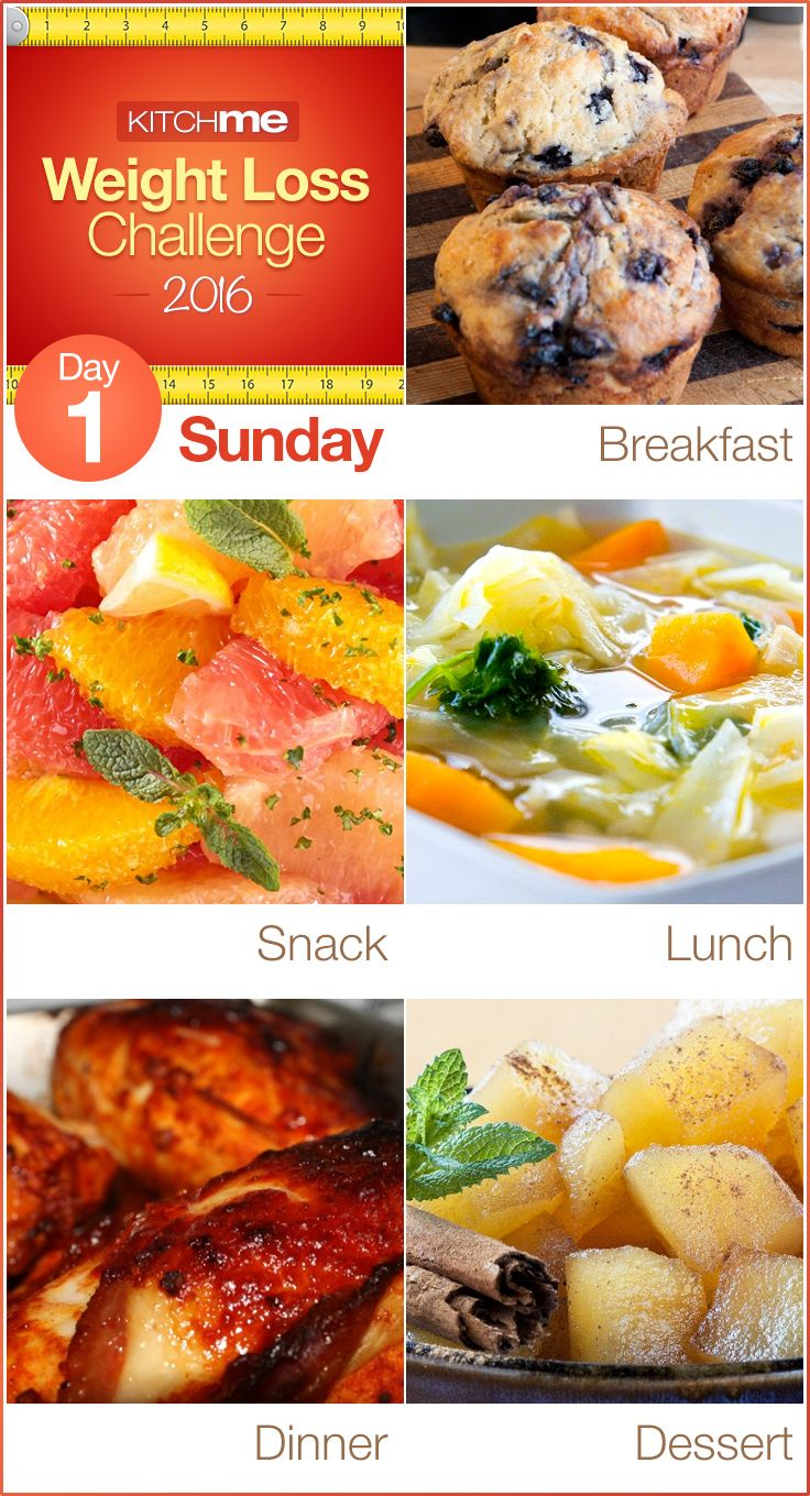Day 1 Meal Plan Recipes – Weight Loss Challenge for Weight Watchers - Blueberry Muffins, Citrus Salad, Vegetable Soup, Sticky Chicken, Coleslaw, and Apple Pie