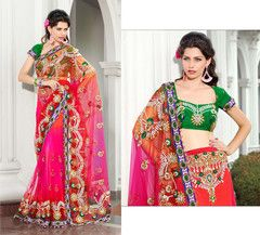 Party Wear  Embroidered Net Dupion Saree 114