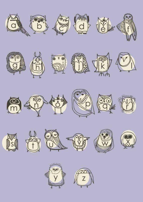 Items similar to Large Owlphabet Poster, Alphabet, Nursery Art, Owl Nursery Art, Purple Poster by Gingiber on Etsy on Etsy