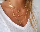 Or délicat en couches ensemble de collier ; Infinity, perles Turquoise et breloques de pièce de monnaie ; Choisissez votre couleur de perles