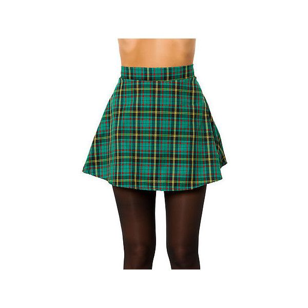 O-Mighty The Grunge Plaid Skirt in Green ($39) ❤ liked on Polyvore featuring skirts, mini skirts, green mini skirt, short skirts, short plaid skirt, green plaid mini skirt and plaid miniskirt