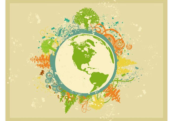 Naturaleza y geografía metraje vector del planeta Tierra. Grunge imagen estilizada de un globo, las siluetas de los árboles, planta remolino tallos, círculos concéntricos, salpicado de pintura y patrones sucios. Globo y rayos Starburst para crear la naturaleza, planeta, ecología, geografía, mundo y visuales globales.