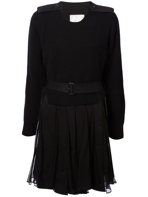 - Sacai Belted Dress -  Shop it on dolcitrameshop.com #black #dress #sacai #womens #farfetch #dolcitrame #dolcitrameshop #fashionweek