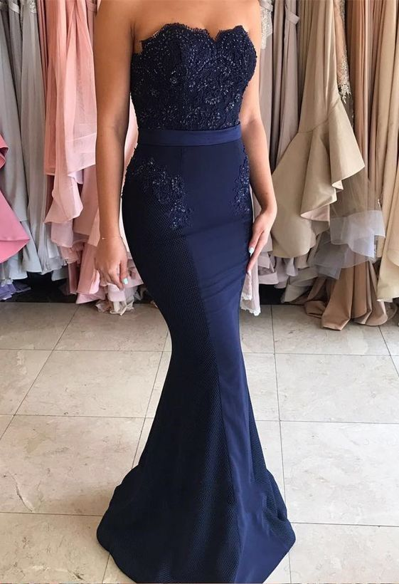 Navy Blue Long Prom Dress, Strapless Mermaid Appliques,