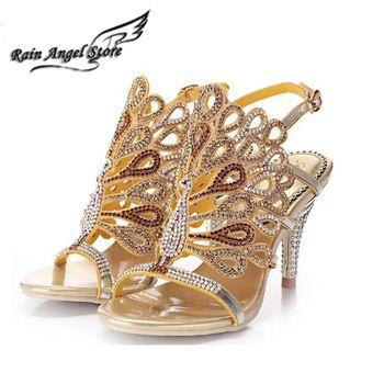 Bomba Sexy sandálias de salto alto mulheres sandálias de strass sapatos sandálias de strass pavão MX-L004
