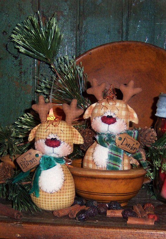 Primitive Christmas Reindeer Doll Ornie Pattern 534
