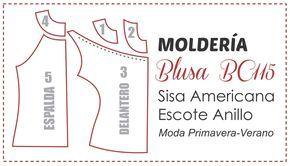 Trazado de molde para blusa BC115 con sisa americana y escote en anillo. Paso a paso en: http://www.elbauldelacosturera.com/2014/09/blusa-bc115-escote-frunci...