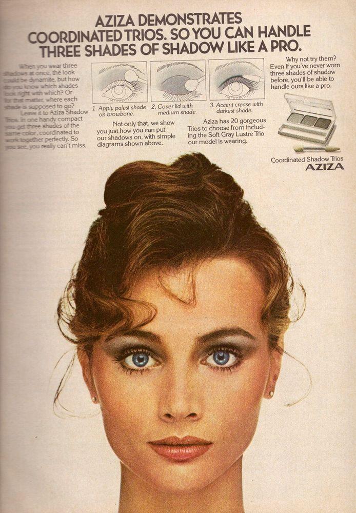 1981 AZIZA Cosmetics Makeup Magazine PRINT ADVERTISEMENT AD VINTAGE VTG 80s #Aziza