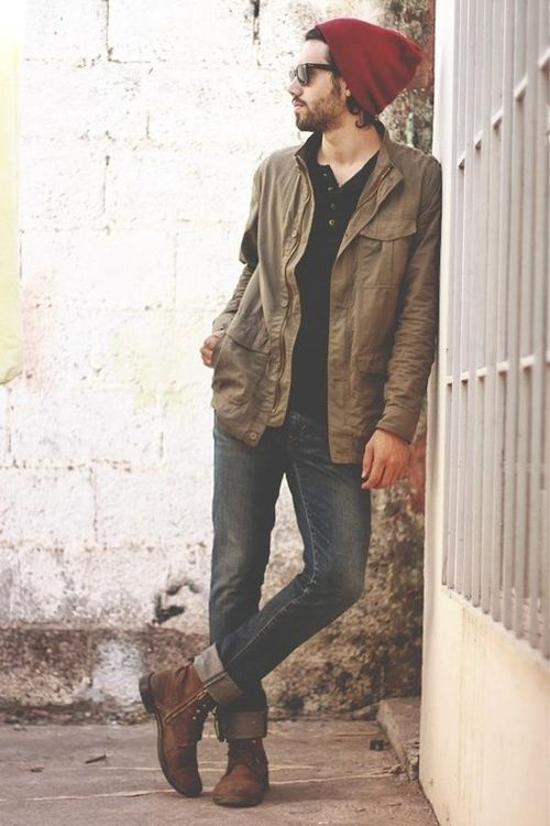 Shop this look for $201: http://lookastic.com/men/looks/beanie-and-henley-shirt-and-barn-jacket-and-jeans-and-boots/694 — Burgundy Beanie — Black Henley Shirt — Tan Barn Jacket — Black Jeans — Brown Leather Boots