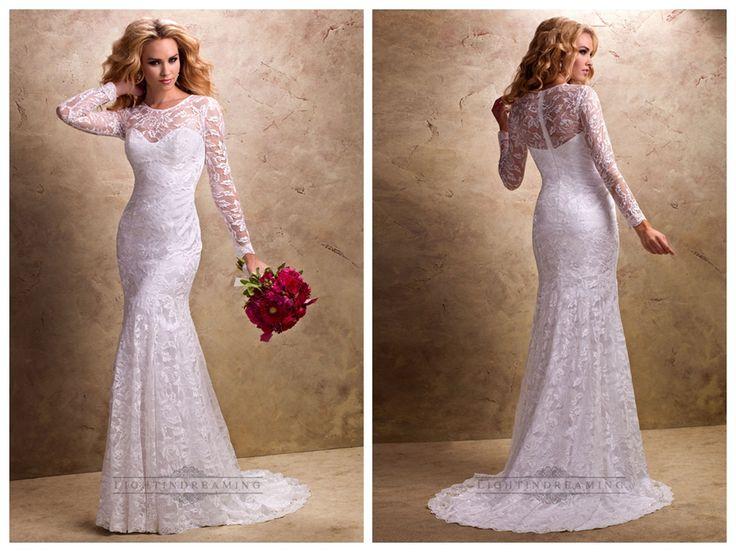 Fit and Flare Long Sleeves Sheer Wedding Dresses with Sweetheart   Neckline http://www.ckdress.com/fit-and-flare-long-sleeves-sheer-wedding-  dresses-with-sweetheart-neckline-p-167.html #wedding #dresses #dress #lightindream #lightindreaming #wed #clothing   #gown #weddingdresses #dressesonline #dressonline #bride
