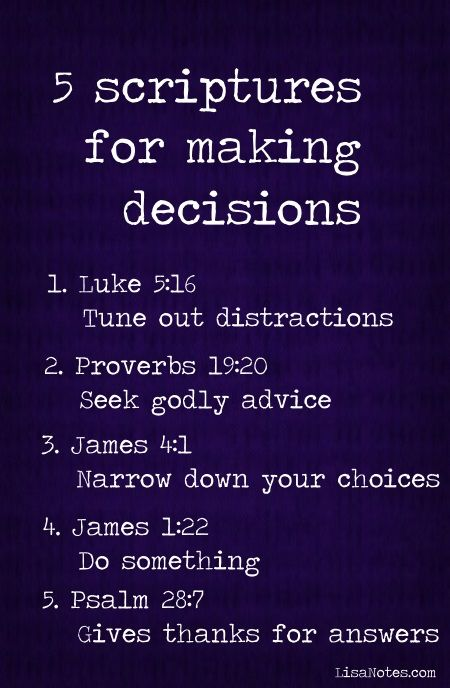5 Scriptures for making decisions: