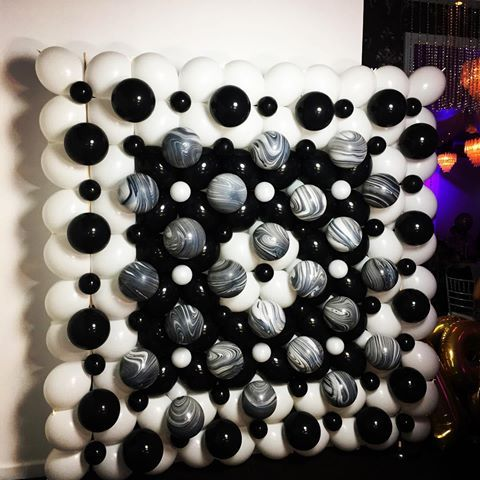 Balloon walls make a great statement! #eventstyling #eventideas #balloonwall #sydneyballoons #quirkyballoons    Black, white and marble balloon wall, perfect backdrop for a photo booth at a sweet 16th