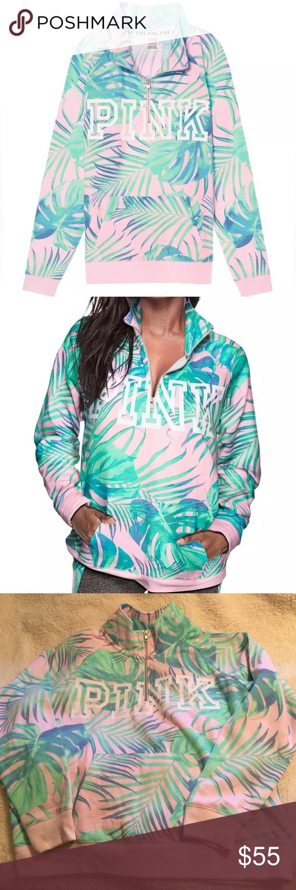 """Pink Pastel Palm Tropical 1/4 Zip Pullover VS NWT Victoria's Secret PINK Campus 1/4 Quarter Zip Pullover Sweatshirt Jacket Top in Allover Pastel Palm Tree Tropical Print (BHQ) with Light Aqua Teal Green Blue Palm Tree Leaves & Light Pastel Baby Pink Background as well as PINK logo in white on the front.  This super comfy quarter-zip will definitely be in high rotation this season! Super soft fleece 25.5"""" length Relaxed Fit Logo graphics Mock neck collar Quarter-zip closure Imported…"""