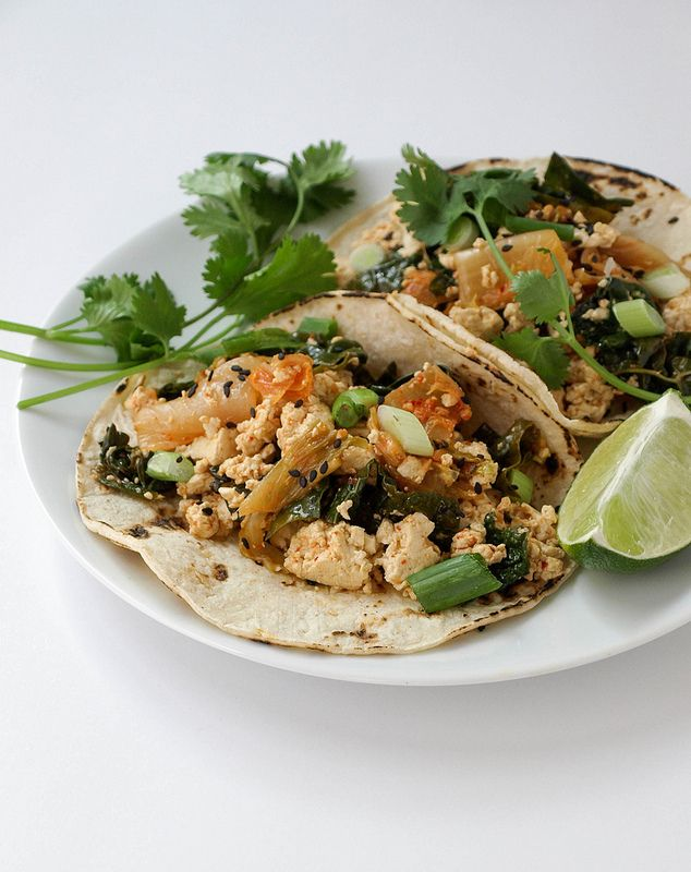 Kimchi tofu scramble tacos- can also add other veggies- diced carrots, etc.