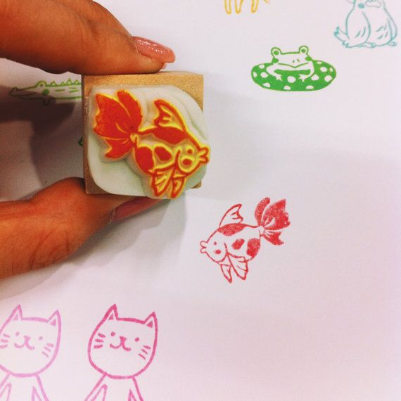 chubby goldfish rubber stamp by DeerdayShop