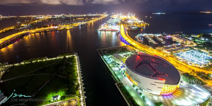 The Port of Miami and American Airlines Arena -