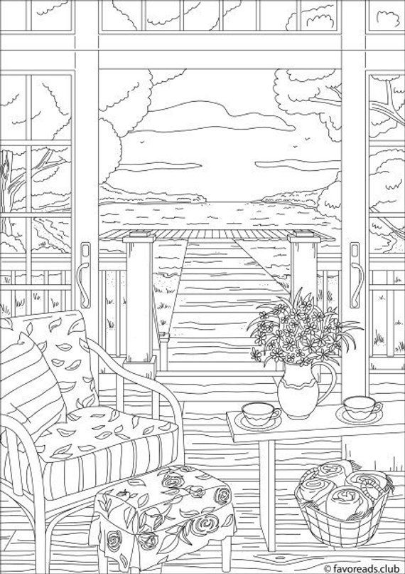 Village View Printable Adult Coloring Page From