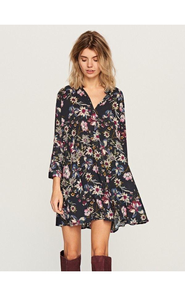 Koszulowa sukienka w kwiaty, Sukienki, kombinezony, wielobarwn, RESERVED