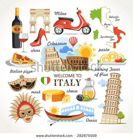 welcome to Italy symbols set