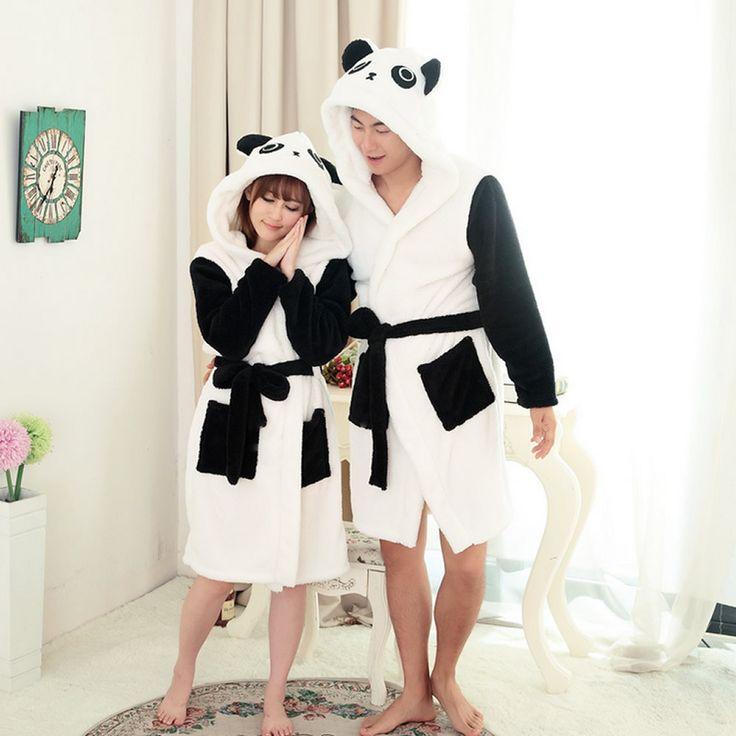 Flanella Panda Cartoon Robes per le donne 2017 Lungo Sexy robe d 'Coniglio Punto Mucca Seep Animale di Sonno Veste Accappatoio Donne camicia da notte