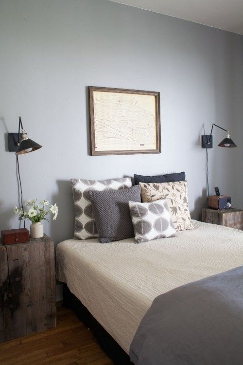 Muted Colors: Calm and Relaxed in Monterey, California   neutrals + gray bedroom, wind chart   DesignSponge