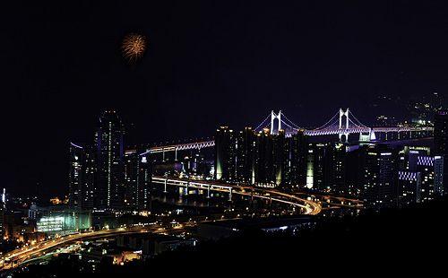 Fireworks Over Gwangan Bridge in Busan