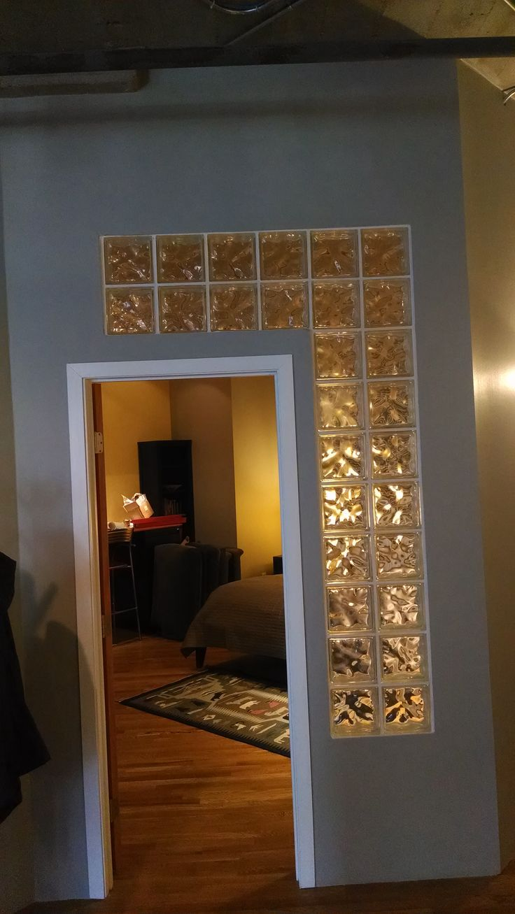 Glass block wall. Want in condo to finish partial walls to ceiling