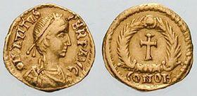 Eparchus Avitus (régne 9 juillet 455-17 octobre 456, 6 mois) Empereur romain d'Occident.- DEOTERIA- 1)BIOGRAPHIE: Originaire d'Auvergne, issue d'une grande famille aristocratique gallo-romaine et probablement apparentée à SIDOINE APOLLINAIRE, St AVIT et à l'empereur AVITUS. Elle a d'abord vécu (vers 533 en Septimanie, aujourd'hui correspondant approximativement à la région Languedoc-Roussillon, qui était alors une possession wisigothique. Elle y avait un mari et une fille, ADIA
