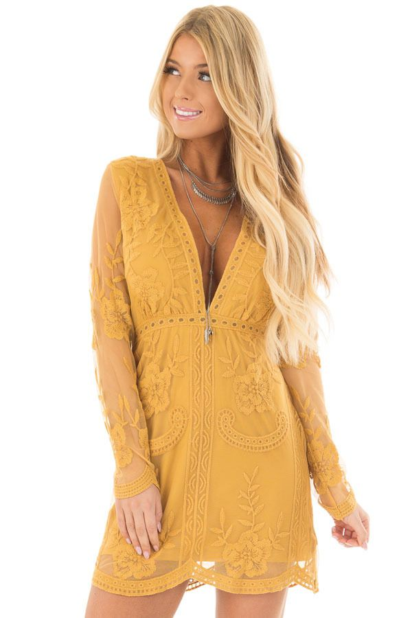 Lime Lush Boutique - Mustard Sheer Lace Long Sleeve Short Dress, $69.99 (https://www.limelush.com/mustard-sheer-lace-long-sleeve-short-dress/)