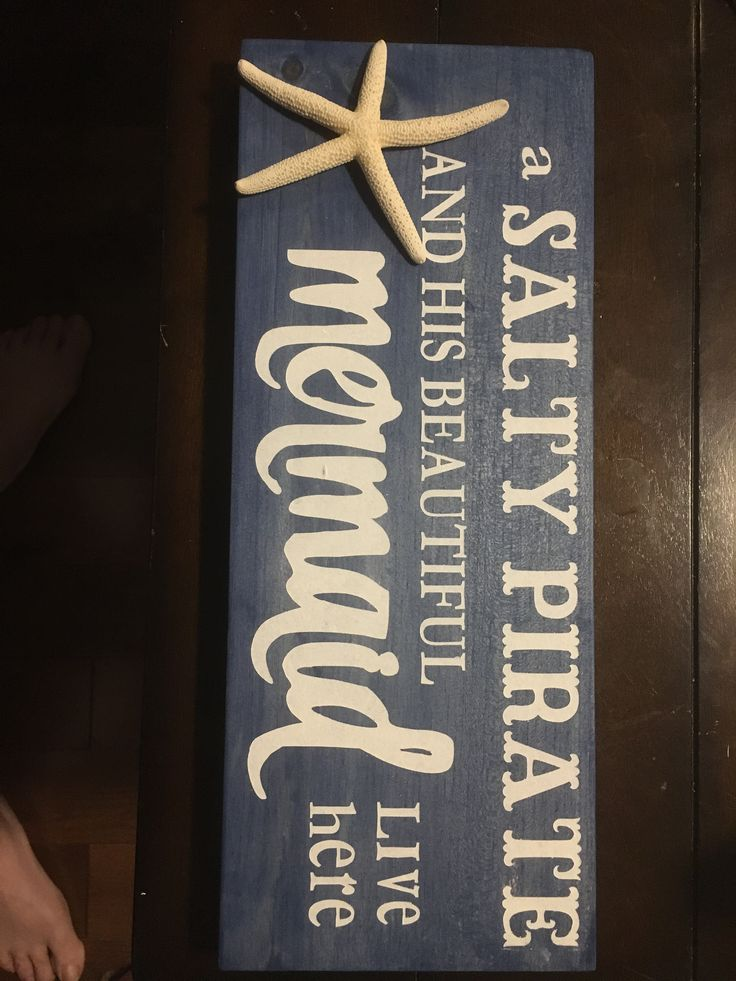 Salty Pirate and his beautiful Mermaid Wooden Sign