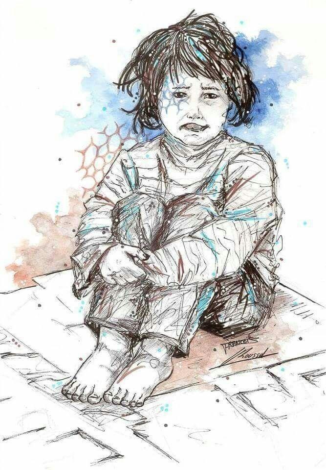 Enfant de la rue..  Dessin collaboration dronn