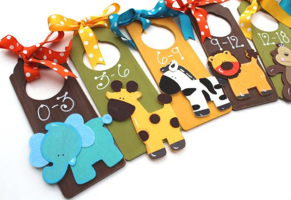 Baby Closet Dividers Set Zoo Animals Nursery by BabyWhatKnots