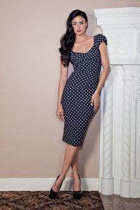 Stop Staring! Blue Polkadot Pencil Love Dress 100 39 14825 1