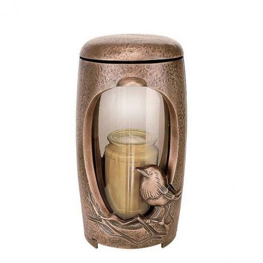 Kunstvolles Bronze Grablicht »Amata« mit Vogel - Hochwertiger Bronzeguss & Handarbeit ✤ Jetzt versandkostenfrei kaufen bei ▷ Serafinum.de !