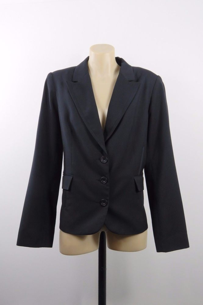 Size L 14 Jacqui E Ladies Charcoal Jacket Corporate Business Office Chic Design #JacquiE #BasicJacket #Business